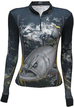 Camisa de Pesca BRK Feminina Dourado Black com fps +50