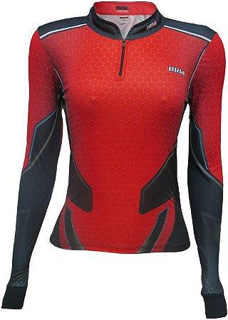 Camisa de Pesca BRK Feminina Fising Life Red com fps +50