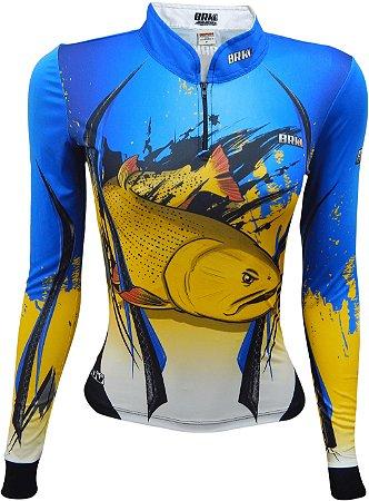 Camisa de Pesca Feminina Brk Dourado com fps 50+