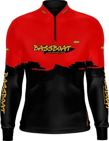 Camisa de Pesca Brk Bass Boat Red Black com fps 50+