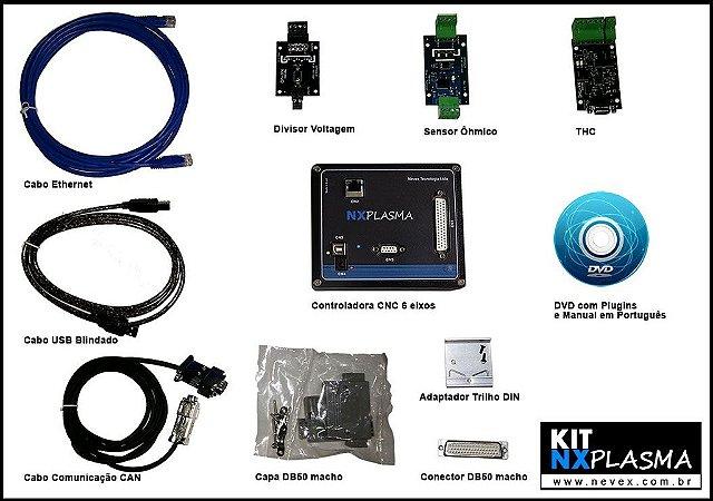 KIT NX-PLASMA: Controladora CNC 6 eixos + THC + Sensor Ôhmico + Divisor de Voltagem + Cabos USB, Ethernet e CAN
