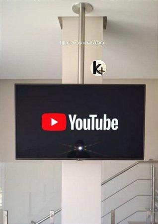Suporte Giratório TV _ Fixação Teto _ Inox Escovado _ Sem Regulagem de Altura _Chapa Fixação TV Aço Preto _ Sob Medida