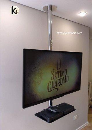 Suporte Giratório TV _ Fixação Teto _ Inox Brilhante _ Com Prateleira _ Sem Regulagem de Altura  _ Chapa Fixação TV Aço Preto _ Sob Medida