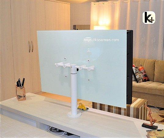 """Suporte Giratório TV _ Fixação Móveis - Cor Branco - Chapa TV Vidro - Alumínio - Altura Sob Medida - Para TV's até 55"""""""