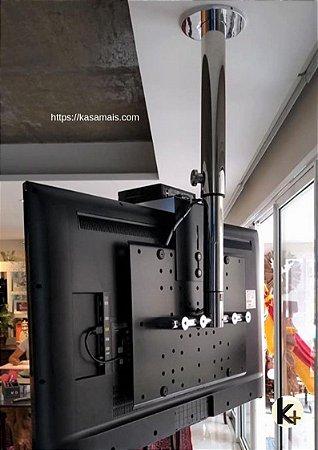 Suporte Giratório TV _ Fixação Teto _ Com regulagem de Altura - Prateleira de Aço Preta - Aço Inox Brilhante ou Escovado