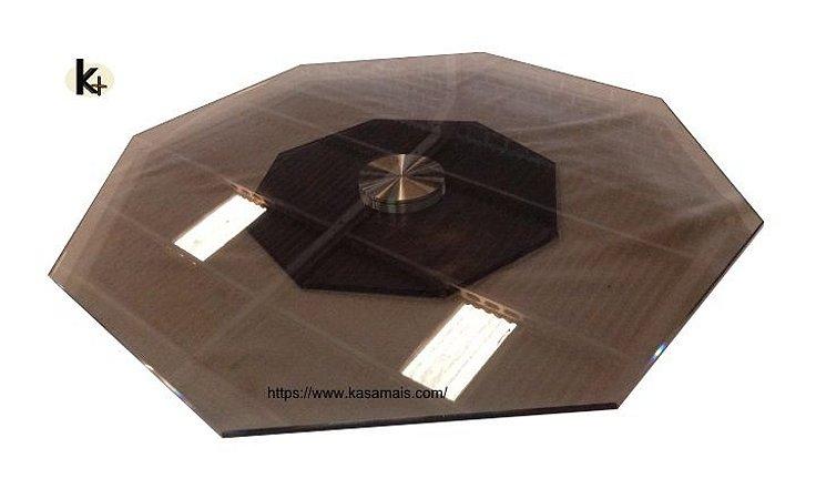 Prato Giratório Mesa Oitavado - Vidro Bronze - Vários Tamanhos