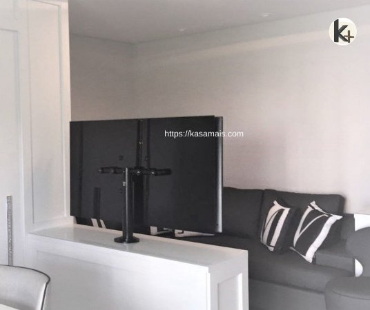 Suporte Giratório TV _ Fixação Móveis - Cor Preto - Chapa TV Vidro - Alumínio - Altura Sob Medida