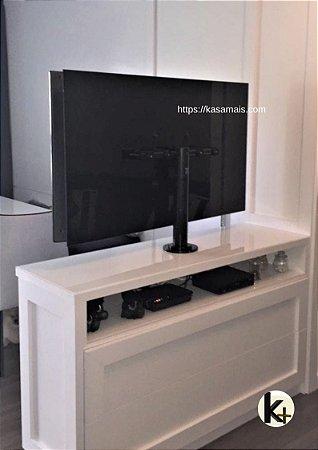 """Suporte Giratório TV _ Fixação Móveis - Cor Preto - Chapa TV Vidro - Alumínio - Altura Sob Medida - Para TV's até 55"""""""