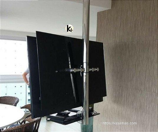 Suporte Giratório TV _ Fixação Teto _ Sem regulagem de altura _ Com prateleira_Várias Cores