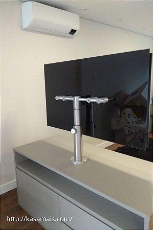 """Suporte Giratório TV _ Fixação Móveis - Com Regulagem de Altura 42cm a 62cm - Aço Inox Brilhante ou Escovado - Para TV's de 32"""" a 55"""""""
