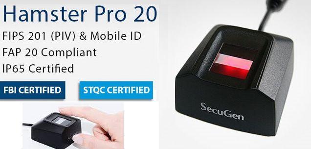 Leitor biométrico Hamster PRO20 interface USB