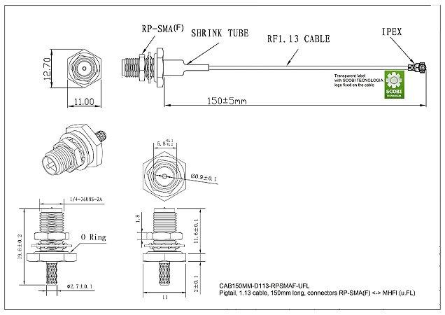 Pigtail com conectores RP-SMA(F) <-> MHFI (u.FL), comprimento 150mm