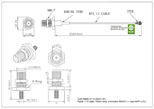Pigtail com conectores SMA(F) <-> MHFI (u.FL), comprimento 150mm