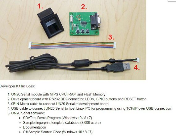 Kit de desenvolvimento para leitor biometrico UN20 Serial