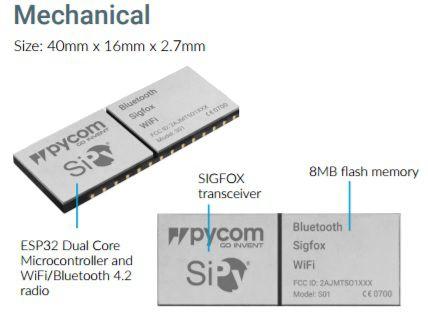 Módulo Pycom S01 OEM 14dBm: integra Sigfox, WiFi e Bluetooth no mesmo item - S01 14dBm RCZ4