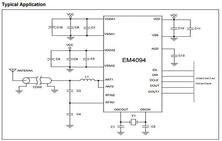 RFID front end para leitor,  13.56MHz, compatível ISO 15693 e ISO 14443A&B - EM4094