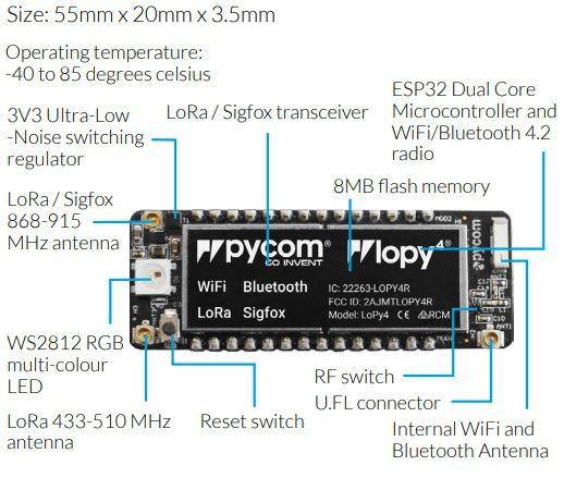 Módulo Pycom LoPy4: integra LoRa, Sigfox, WiFi e Bluetooth no mesmo item !