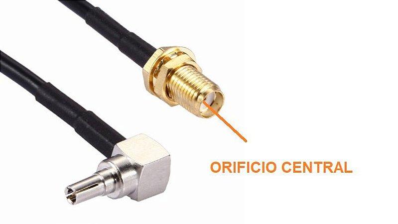 Pigtail com conector CRC9 <-> SMA(F) comprimento 150mm cabo RG174 - CAB150MM-RG174-CRC9RA-SMAF-JS