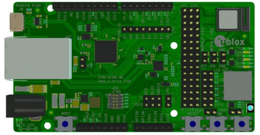 Kit de desenvolvimento WiFi, Bluetooth e BLE para NINA-W152 - EVK-NINA-W152