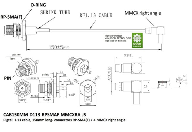 Pigtail conectores RP-SMA(F) O-Ring <-> MMCX 90 graus, comprimento 150mm - CAB150MM-D113-RPSMAF-MMCXRA-JS