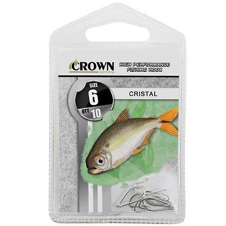 Anzol Crown Cristal para Lambaris e Saicangas Niquel Prata Número 06 Cartela com 10 Unidades