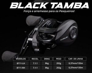 CARRETILHA MARURI BLACK TAMBA 11 ROL. ESQUERDA