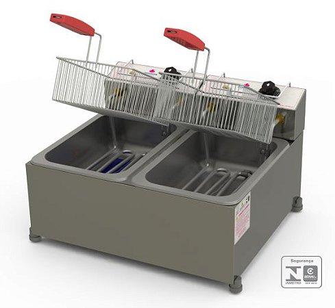 Fritadeira Profissional Elétrica Progás Inox 2 Cubas 10 Litros PR-20E STYLE 220V