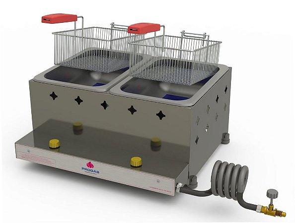 Fritadeira Profissional a Gás Progás Inox 2 Cuba 10 Litros PR-20G