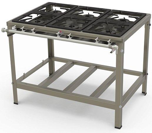 Fogão Industrial Inox 6 Queimadores Simples PMI-603 Progás