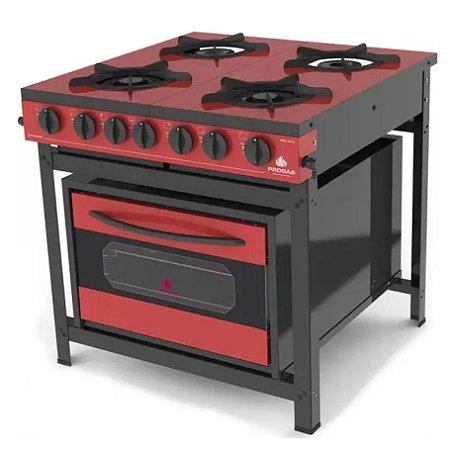 Fogão Industrial com Forno PRGE-402 Gourmet Progás Vermelho