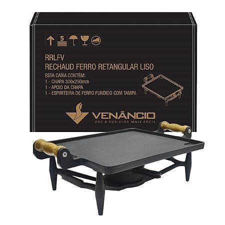 Rechaud Ferro Fundido Retangular Liso Venâncio RRLFV Preto