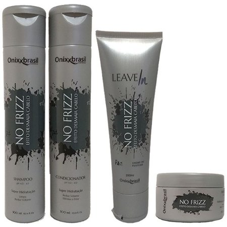 Kit Completo No Frizz - Shampoo + Condicionador + Leave-in + Mascara - reduz volume e alinha os fios