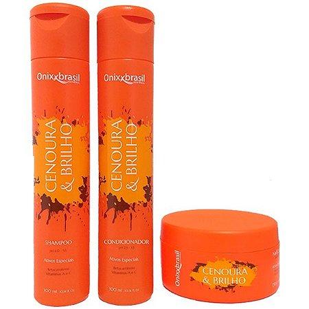 Cenoura e Brilho - Shampoo + Condicionador + mascara - rico em vitaminas A, C e Betacaroteno