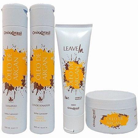 Kit Completo Óleo de Argan - Shampoo + Condicionador + Leave-in + Mascara - brilho e hidratação profunda