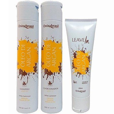 Kit Óleo de Argan - Shampoo + Condicionador + Leave-in - brilho e hidratação profunda