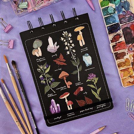 Sketchbook Mistérios da Natureza - Papel aquarela 200g