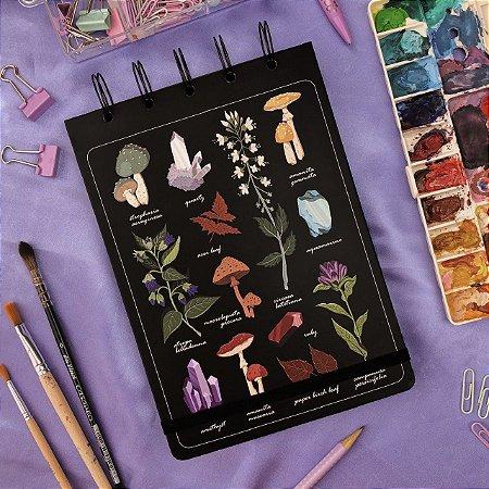 Sketchbook Mistérios da Natureza - Papel preto 180g
