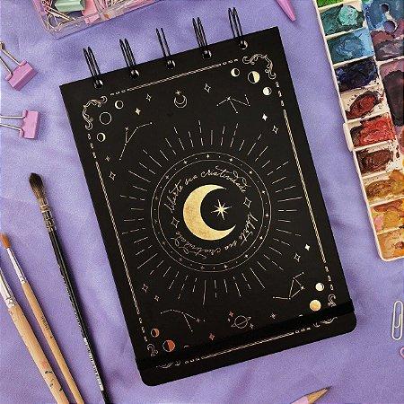 Sketchbook Fases da Lua - Papel aquarela 300g Canson Montval