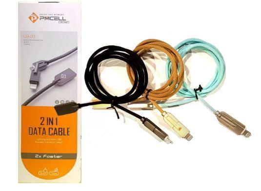 Cabo 2 em 1 micro USB e  Lightningt 2x Faster PMCEL CB-33