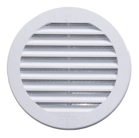 Grade de Ventilação Redonda Para Vidro Branca 150 mm