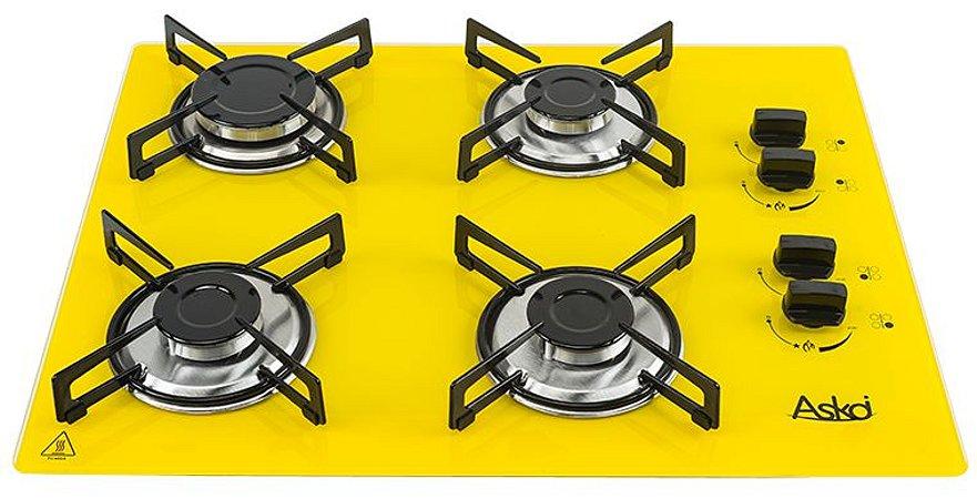 Fogão Cooktop 4 Bocas Amarelo Com 1 Protetor Frontal e 2 laterais