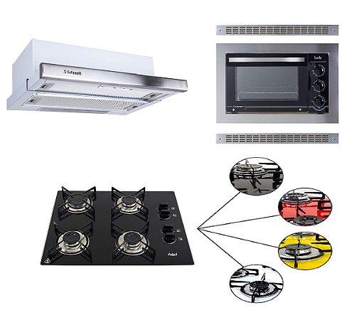 Kit Cooktop Askoi 4 Bocas + Forno de Embutir 45L + Depurador de Embutir 60 cm
