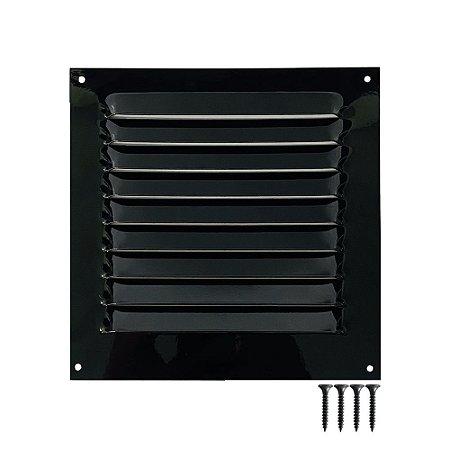 Grade De Ventilação Quadrada Preta De Alumínio 20X20 Cm