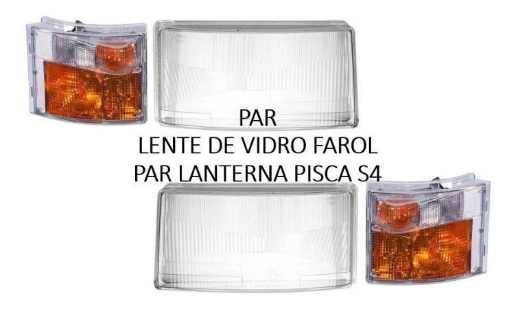 Lente Farol Vidro Scania Série 4 + Pisca Esquerdo E Direito