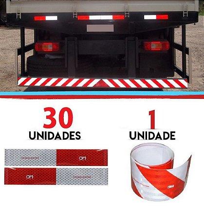 Kit 30 Faixa Refletiva Lateral + 1 Parachoque Caminhão 3m