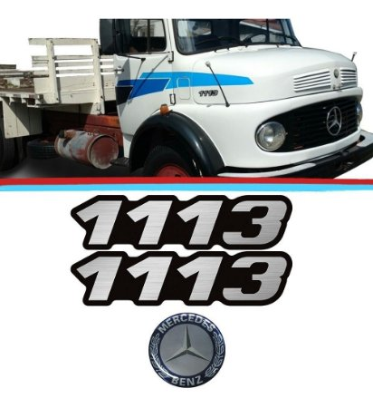 Kit De Emblemas Do Caminhão Mb 1113 Adesivo Resinado (3pç)