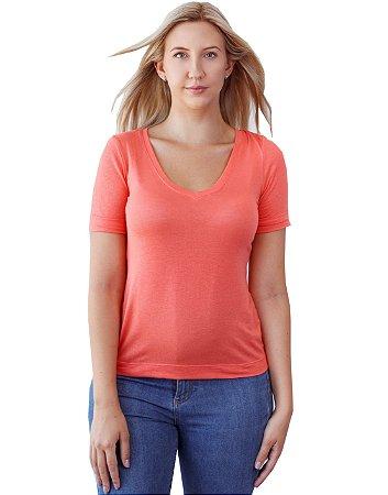 T-Shirt Viscolinho Decote V Flor de Lis Orange