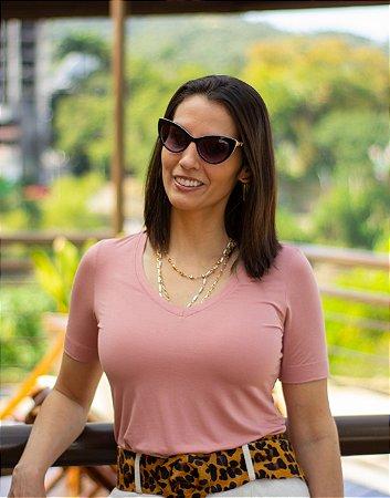T-Shirt Modal Decote V Dente de Leão Rosa Blush