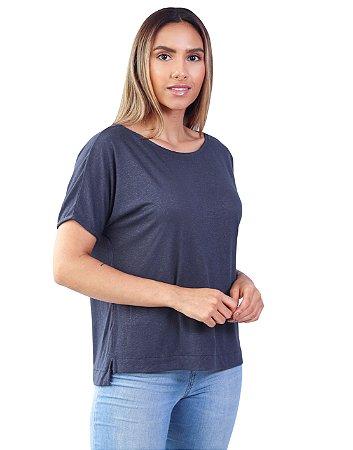 T-Shirt Tamanho Único Viscolinho Decote Canoa Amarílis Nave