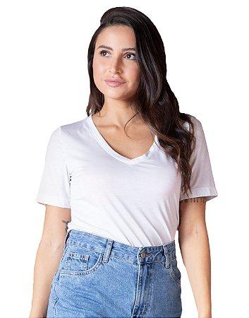 T-Shirt Modal Decote V Dente de Leão Branca
